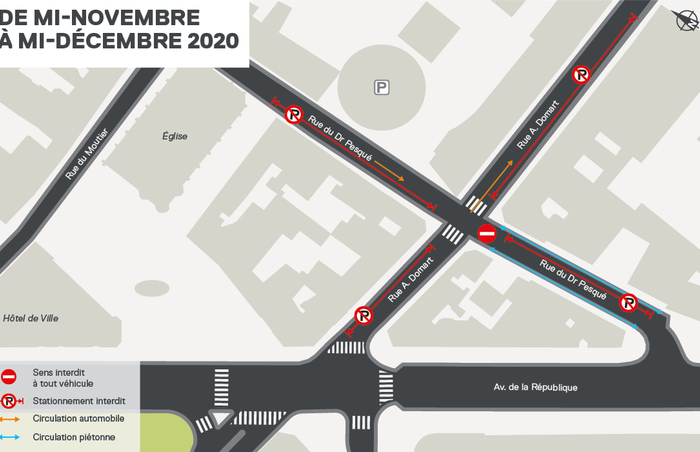 Plan des modifications de circulation - gare Mairie d'Aubervilliers